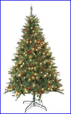 Christmas Tree Holiday Pre Lit Pine 7 foot Artificial Decorate XMas Decoration