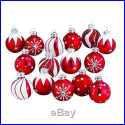 Christmas Tree Red-White Decoration Hanging Glass Ball Ornament Xmas Set 15pcs