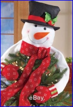 Christmas Tree Snowman Topper Hugger Holiday Decor Polyester 20L NEW B6221