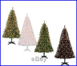 Christmas Tree & Stand Pre-Lit 6.5 Ft Holiday Pine Xmas, Clear or Color Light NEW