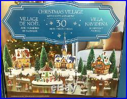 Christmas Village Scene With LED Lights & Musical Gazebo 30 Pieces xmas