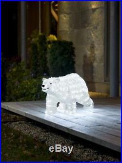Christmas Winter Decor Large Walking Polar Bear With 200 Ice White LED Light