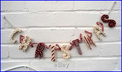 Christmas Wooden Garland Red Vintage Country Style Christmas Decoration