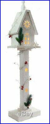 Christmas Workshop White Snow Tipped LED Light Wooden House Ornament Decor 70cm
