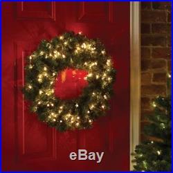 Christmas Wreath Light Up 50 x Warm WhiteLED Pre Lit Wreath 61cm Door Wall Decor