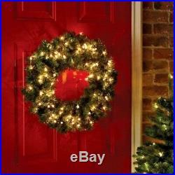 Christmas Wreath Light Up LED Pre Lit wreath Door Wall Decoration 61cm 160 Tips