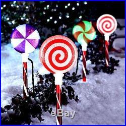 Christmas Yard Decor Lighted Lollipop Pathway Marker LED Lights (Set of 4) NEW