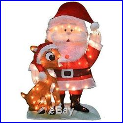 Christmas Yard Decoration 32 Inch Pre-Lit Santa & Rudolph 70 Lights Outdoor NEW