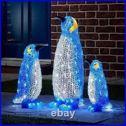 Christmas indoor Outdoor Penguin Family Acrylic 44 LED lights Xmas festive fun