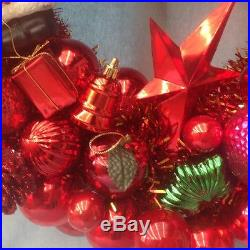 Christmas ornament wreath. Approx. 21 diameter. Gorgeous RED deliciousness