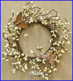 Citron Pip Berry & Rusty Butterfly Ring Mini Wreath Country Primitive Floral Dé