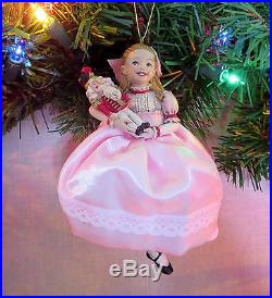 Clara in Nutcracker Ballet Ornament Pink Satin Dress 5.25 Kurt S. Adler NEW