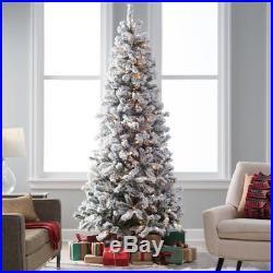 Classic Flocked Slim Pre-Lit Christmas Tree, Green, 7.5 ft