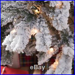 Classic Flocked Slim Pre-Lit Christmas Tree, Green, 9 ft