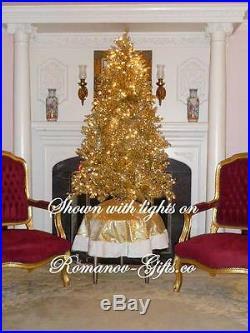 Classic Platinum GOLD Slim Pre-Lit Christmas Tree 5 ft high Mid Century Modern