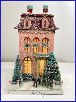 Cody Foster Christmas Light Up House, Putz House, Glitter House Pink Chateau