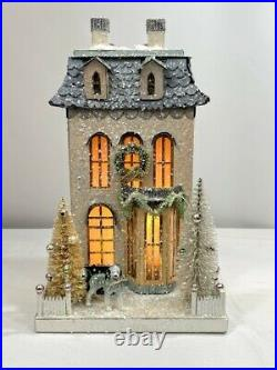 Cody Foster Christmas Light Up House, Putz House, Glitter House White Chateau
