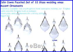 Colin Cowie Faceted Set of 12 Glass wedding xmas Accent Ornaments