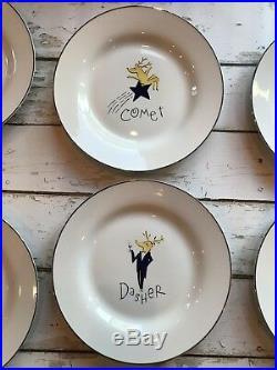 Complete Set Pottery Barn Reindeer Christmas 11 Dinner Plates RETIRED