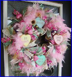 Conversation Hearts Valentines Day Eye Candy Deco Mesh Front Door Wreath Decor