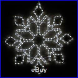 Cool White Christmas Diamond Tip Snowflake Outdoor Rope Light Holiday Display