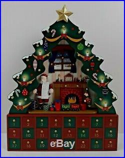 Costco Wooden Advent Christmas Tree Calendar Santa List Fireplace Elf #387378
