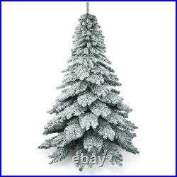 Costway 7.5 ft Snow Flocked Artificial Christmas Tree Hinged Alaskan Pine Tree