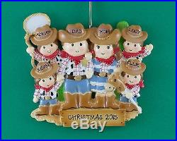 Cowboy Family of 6 Personalized Christmas Tree Ornament Holiday Gift 2015