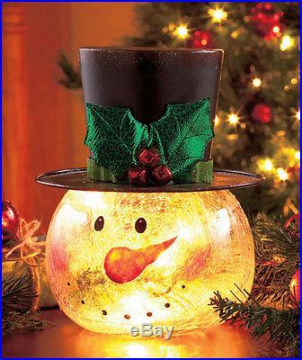 Crackle Glass Snowman Light Up Christmas Holiday Table ...