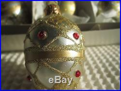 Crate and Barrel Christmas Holiday Egg Ornaments Set of Six #4