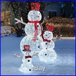 Crystal Beaded Twinkling Snowman Family, Set of 3 Christmas Decor Outdoor Winter