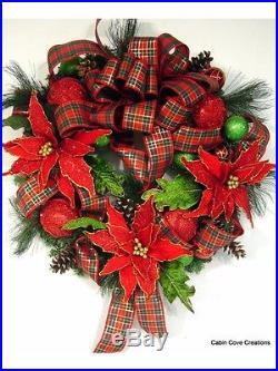 Custom Christmas Wreath Jumbo Poinsettias Tartan Plaid Traditional Beauty