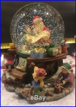 Custom Large Santa Claus Is Coming to Town Musical Snow Globe & Rotating Base