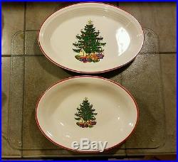 Cuthbertson AMERICAN CHRISTMAS TREE Fiesta 13 5/8 platter & 12 1/8 serving bowl