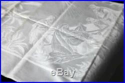 Damast Tafeldecke Abendmahl mit christlichem Motiven um 1900