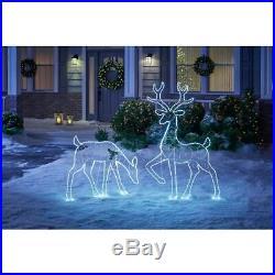 Deer Doe Set Christmas Outdoor Decoration Cool White LED Holiday Yard Light NEW