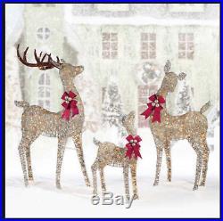 Deer Family Set of Three 3 Reindeer Christmas Indoor Outdoor 650 LED Lights Xmas