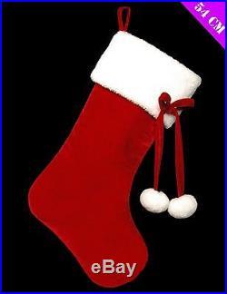 Deluxe Christmas Large Velvet Novelty Pompom Stocking Sack Hanging Decorations