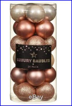 Deluxe Luxury CHRISTMAS BAUBLES 24pk 40 mm Stunning COPPER ROSE GOLD XMAS DECOR