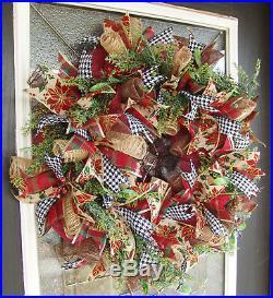 Designer Twist on Traditional Christmas Decor Winter Deco Mesh Front Door Wreath