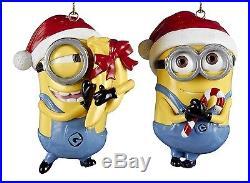 Despicable Me Minions Dave Carl Santa Hats Christmas Holiday Ornaments Set of 2