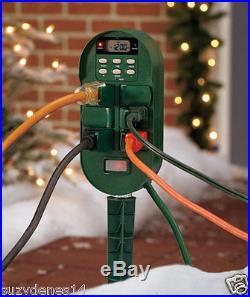 Digital Multi-Function Outdoor Timer 6 Outlet Programmable Timer Holiday Lights