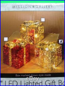 EYE-CATCHING 4 LED LIGHTED GIFT BOX CHRISTMAS DECOR NIB