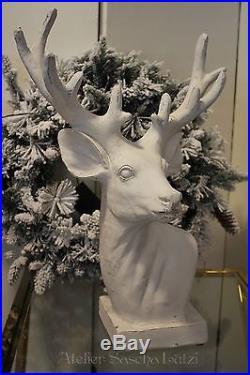 Edler Hirsch Rentier Geweih Figur Büste Weiß 50 cm Dekoration Winter Weihnachten