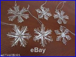 Elegant Glass Snowflake Ornaments Gold Trim Set of 6 by Current