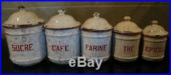 Enamelware Nesting Canisters Red & White Chicken Wire Set Of 5 VINTAGE-French