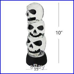 Evelyne 10 Triple Skulls Stack Tower LED Halloween Snow Globe Table Light
