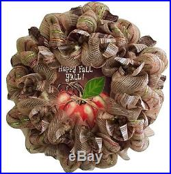 Extra Large! Happy Fall Y'All Autumn Harvest Wall Or Fireplace Deco Mesh Wreath