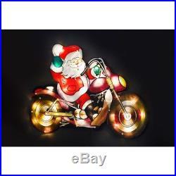 Extra Large LED Silhouette Light Santa on Bike CHRISTMAS WALL DECORATION