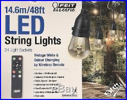 FEIT 48ft 14.6m 24 Bulb +2 Spare Colour Changing Outdoor Garden String Lights